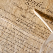 Feather with the declaration — Stock Photo