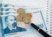 ペンといくつかのコインでお金 — ストック写真