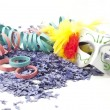 Stock Photo: Carnival mask, confetti and streamers .
