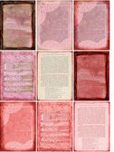 Pink book page backgrounds 9 assorted — Stock Photo