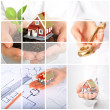 Invest in real estate. Business collage. — Stock Photo