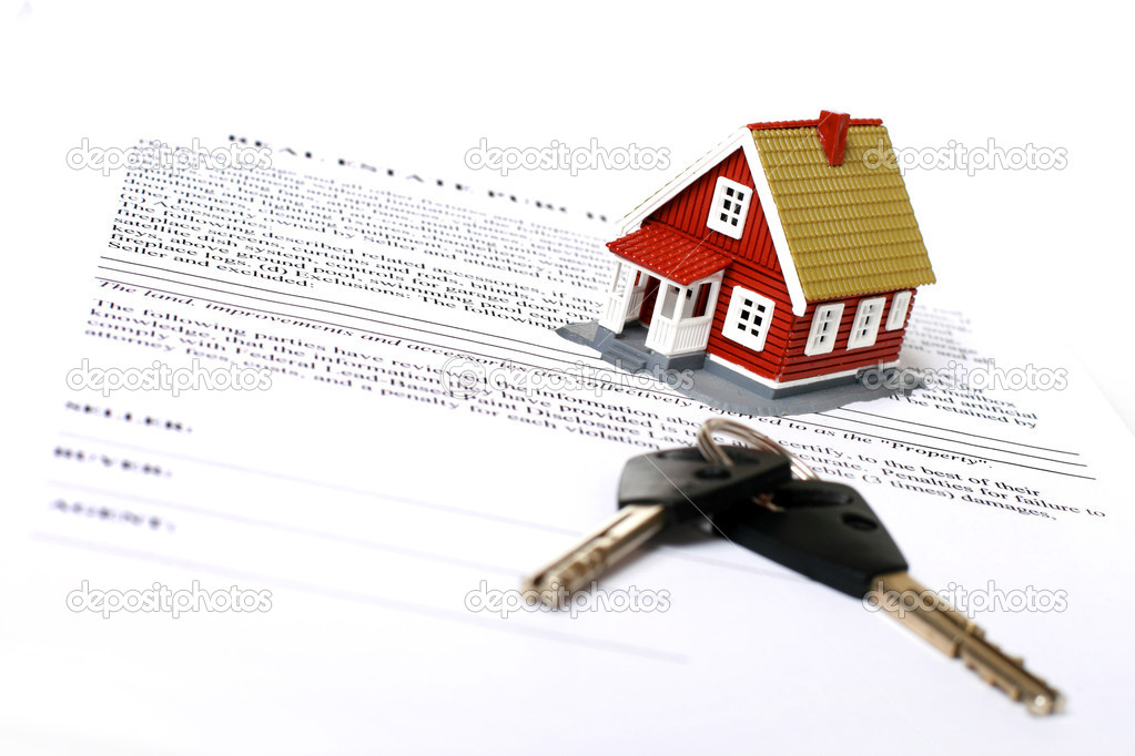 Real estate concept. Keys, money, small house and contract over white.  Stock Photo #5372429