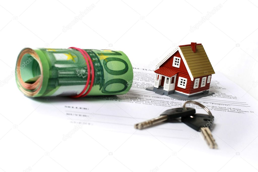 Real estate concept. Keys, money, small house and contract over white. — Stock Photo #5372539