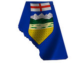 Flag and map of Alberta — Stock Photo