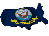 Flag and map of United States Navy — Stock Photo