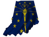 Flag and map of Indiana — Stock Photo