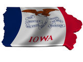 Flag and map of Iowa — Stock Photo