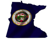 Flag and map of Minnesota — Stock Photo