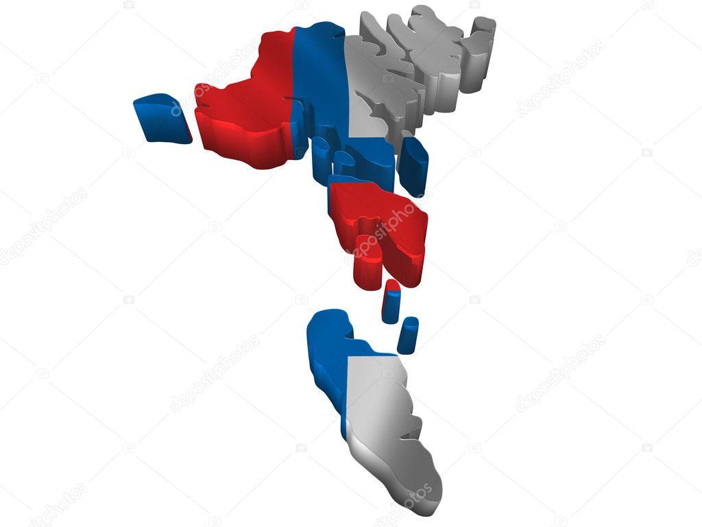 图国旗和地图的法罗群岛