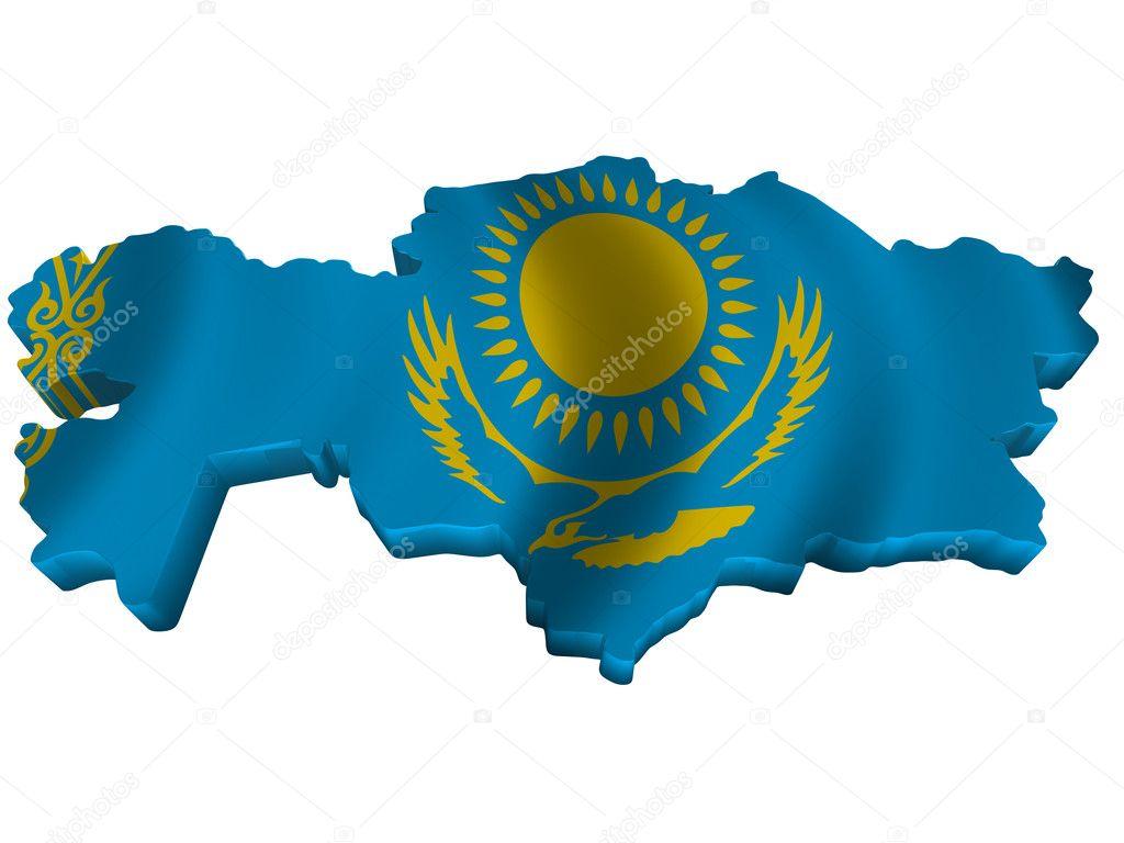 Flag and map of Kazakhstan — Stock Photo © sav_up #5246038