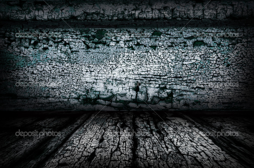 A dark grunge textured wall and floor background — Stock Photo #5288724