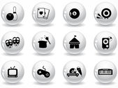 Glossy grey buttons — Stock Vector