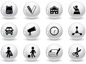 Glossy grey buttons — 图库矢量图片