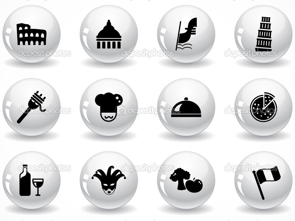 Set of glossy grey buttons with icons — Stock Vector #5356850