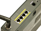 Ethernet ports on a high-performance office router — Stock Photo