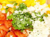 Vegetable salad ingredients close up — Stock Photo