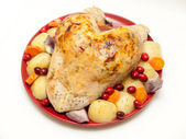 Turkey crown with stuffing, cranberries and vegetables — Stock Photo