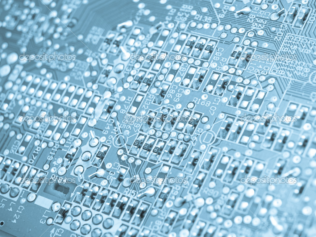 Electronic elements on a circuit board — Stock Photo