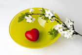 Plum branch and heart on plate — Stock Photo