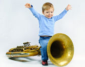 Little musician. — Stock Photo