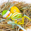 Stock Photo: Closeup basket with colorful Easter Eggs