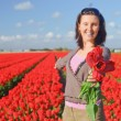 Women In Tulip Field — Stock Photo