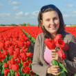 Stock Photo: Women In Tulip Field