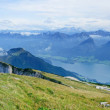 Panorama the bird's-eye view Over An Austrian Lake — Stock Photo