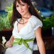 Young pretty woman wearing white — Stock Photo