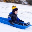 Little Boy's First Sled Ride — Stock Photo