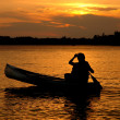 Sunset Canoe Silhouette — Stock Photo