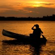 Sunset Canoe Silhouette — Stock Photo #5255738