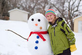 Cute Girl and Her Snowman — Stock Photo