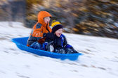 Excited Boys on Sled Ride — Stock Photo