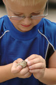 Young Boy Inspects Toad — Stock Photo