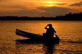 Sunset Canoe Silhouette — Stock Photo