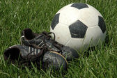 Soccer Shoes and Ball in Tall Grass — Stock Photo