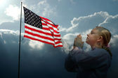 Praying Girl American Flag Stormy Skies — Stock Photo
