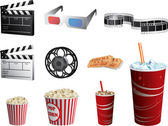 Cinema symbols vector set — Stock Vector
