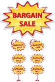 Set van rode en gele verkoop pictogrammen geïsoleerd op wit - koopje sal — Stockvector