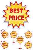 Conjunto de iconos rojos y amarillos venta aislado en blanco - mejor precio — Vector de stock