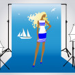 Vector illustration of a girl model on the photo shoot in marine style — Stock Vector #5331769