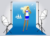 Vector illustration of a girl model on the photo shoot in marine style — Stock Vector