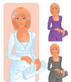 Mujeres en vestidos elegantes — Vector de stock