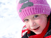 Little girl in the snow — Stock Photo