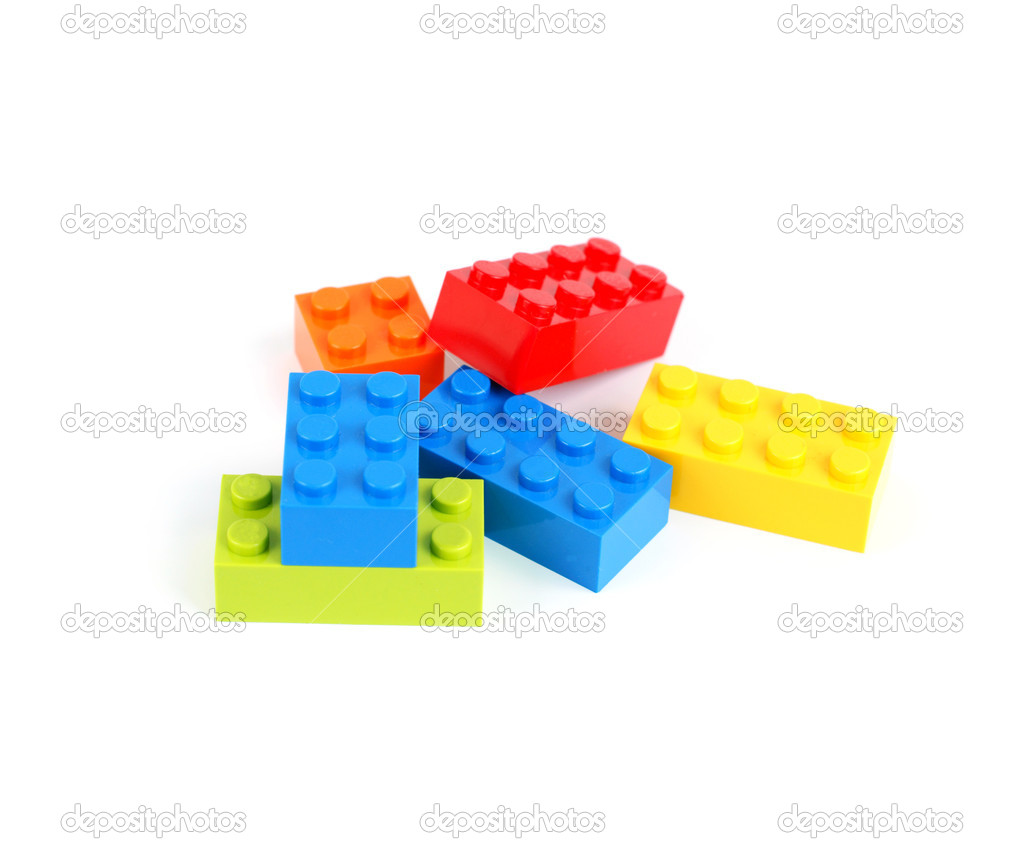Color lego blocks on white background — Stock Photo #5236793