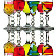 Seven colorful wine glasses with reflection — Stock Photo