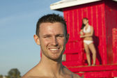 Handsome Smiling Man at Beach — Stock Photo