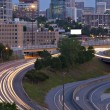 Atlanta twilight skyline showing traffic streaks — Stock Photo #5326712