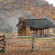 Stock Photo: Fall Cabin and Split Rail Fence
